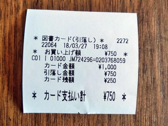 図書カード残額のレシート